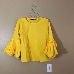 Zara Yellow Ruffle Sleeve Blouse